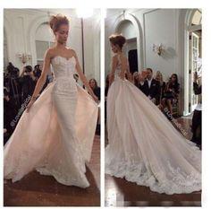 Detachable-Lace-Mermaid-Wedding-Dress-Bridal-Gown-Custom-Size-6-8-10-12-14-16-18