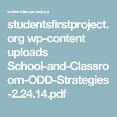 studentsfirstproject.org wp-content uploads School-and-Classroom-ODD-Strategies-2.24.14.pdf