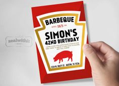 BBQ - Barbecue - Barbeque - Birthday Party - Ketchup Style - 5x7 Invitation - Pdf and Jpg