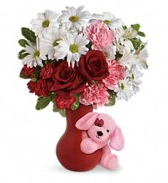 """""""Send a Hug Puppy Love Bouquet"""" ~ Red Roses,white alstroemeria, pink carnations, red miniature carnations and white daisy City Flowers, Love Flowers, Colorful Flowers, Beautiful Flowers, Send Flowers, Sugar Flowers, Beautiful Things, Happy Birthday Flowers Wishes, Cute Happy Birthday"""