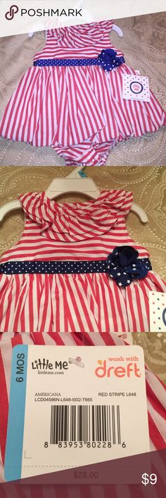 💕NEW💕Precious 6 month Red Stripe 1 Piece Dress 💕NEW💕Precious 6 month Red Stripe 1 Piece Dress by Little Me Little Me  Dresses Casual