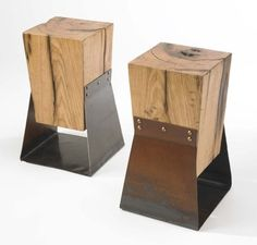 This is an upside down version of what I'm doing for my bedroom end tables. Handmade Reclaimed Wood and Farm Metal End Tables A Pair by TheSteelFork Recycled Wood Furniture, Industrial Furniture, Rustic Furniture, Cool Furniture, Furniture Design, Green Furniture, Industrial Design, Modern Industrial, Antique Furniture