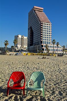 """The beach in Tel Aviv, Israel. Tel Aviv, often called """"the city that never stops,"""" was the first modern Jewish city built in Israel, and is the country's economic and cultural center."""