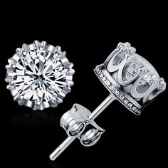 Crown Earrings, Crystal Earrings, Diamond Earrings, Stud Earrings, Cheap Earrings, Fashion Earrings, Fashion Jewelry, Women Jewelry, Jewelry Accessories