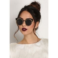 Black Shady Girl Glasses (€8,11) ❤ liked on Polyvore featuring accessories, eyewear, eyeglasses, round glasses, cat eye eyeglasses, round eyeglasses, rounded glasses and round metal frame glasses