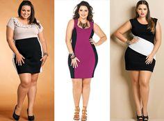 Plus Size Looks for 2013 | Peças de cores vibrantes com faixas laterais neutras são ideais para ...