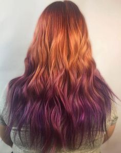 50 Cool Ideas of Lavender Ombre Hair and Purple Ombre Kupfer bis lila Ombre Haar Purple Ombre, Red Purple Hair, Brown Ombre Hair, Burgundy Hair, Ombre Hair Color, Blonde Color, Red Hair With Blue Tips, Ombre Ginger Hair, Orange Ombre Hair