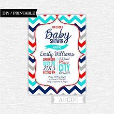Boy Baby Shower invitation 5x7 Navy, Aqua, Red, Grey Chevron DIY Printable (PDCH006) on Etsy, $8.00