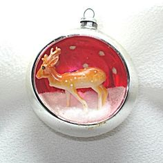 Glass Reindeer Diorama Scene Indent Christmas Ornament