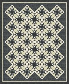 "Check out our FREE ""Circling Stars"" quilt pattern using the collection, ""Basic Blacks and Beiges"" by Jackie Robinson. Designed by Jackie Robinson. Finished size: 59"" x 72"". 