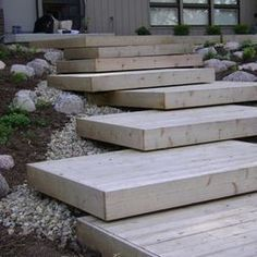 Contemporary Landscape Design, Pictures, Remodel, Decor and Ideas - page 54 introduce big rocks or man made shape next to steps and on edge of deck