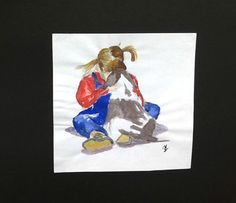 Signed Original watercolour painting by H. JOSÉ, Child and Spaniel Puppy friends