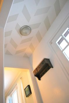 entry hall ceiling or mud room ceiling .Painted Ceiling Pattern In Entry Hall, I would do it in my family room and continue with it as a fusion to my kitchen Hallway Ceiling, Ceiling Decor, Ceiling Design, Ceiling Detail, Ceiling Ideas, Dream Home Design, My Dream Home, House Design, Bathroom Colors