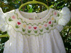 white yellow dot plisse bishop with tulips by The Classic Baby on Etsy