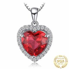 Pendant Ruby Heart Silver ARISTOCRATIC Necklace Types, Gemstone Necklace, Pendant Necklace, Necklace Chain, Sterling Silver Pendants, Silver Jewelry, Fine Jewelry, Jewellery, Cheap Necklaces