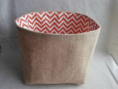 square fabric storage basket - 6in x 6in - jute with 100% cotton lining (clementine chevrons) by SewnbyEmma on Etsy https://www.etsy.com/listing/208580365/square-fabric-storage-basket-6in-x-6in