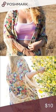 💛Beautiful Colorful Kimono💛 I wore this once for a photo shoot but never worn it since! I think it deserves a more loving home 😂 It is so colorful & beautiful with a flower print! It can fit any size really! from s-xl 💘 make an offer Jackets & Coats