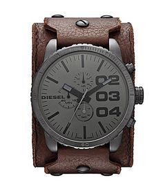 Diesel Brown Leather Mens Cuff Watch #Dillards