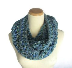 Blue Infinity Scarf Cowl Circle Scarf Knit by ArlenesBoutique $48.00