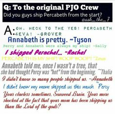 Lock Perachel on the Titanic! I love Perachel so much, Ill ship hem on the Titanic! (Only Percabeth fans would get what I'm saying!)