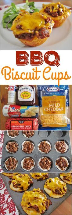 BBQ Biscuit Cups recipe from The Country Cook. Refrigerated biscuits with ground beef, barbecues sauce and gooey, melted cheese on top. Kids love 'em, grown ups love' em and they are so simple and easy to throw together!