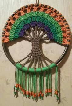 Crochet Tree of Life Dream Catcher Free Pattern Video - Crochet Dream Catcher Free Patterns Motif Mandala Crochet, Crochet Ripple Afghan, Crochet Tree, Crochet Motifs, Afghan Crochet Patterns, Crochet Doilies, Crochet Stitches, Knit Crochet, Blanket Patterns