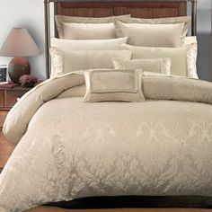 """8PC- King/Cal-King Sara Jacquard Comforter Set including Down-Alterntive Comforter By Hotel Collection by Royal Hotel. Save 68 Off!. $159.99. Royal Hotel Collection. Two Pillow Shams 20 x 36 Inches , Two Decorative Pillows 12 x 18 Inches.. One Duvet Cover 106 x 92 Inches with button closer. Two Euro Shams 26 x 26 inches. One Down Alternative Comforter (White) (106"""" x 90"""") Filled W/ 60 oz of Down-Alternative Filling.. Sara 8pc Hotel Collection Duvet cover set. The Royal Hote..."""