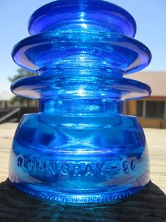 Items similar to Beautiful Hemingray 56 Peacock Blue Glass Insulator Colored or Stained CD 203 on Etsy