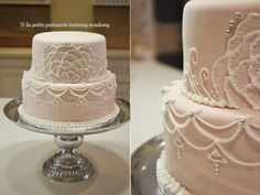 2 Tier wedding cake with royal icing details and brush embroidery.  Designed and made by Fantasia Petite Bakery