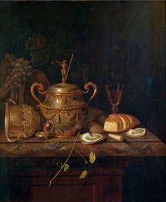 Pieter Gerritsz van Roestraten (1629/30-1700). Натюрморт с супницей, немецким кубком и устрицами.