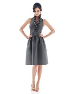 Halter cocktail length peau de soie ruffle neck dress with flat bow detail at natural waist (Alfred Sung Style D470, color is called ebony, looks like charcoal gray)