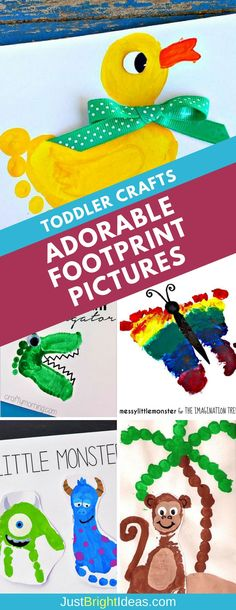 These easy footprint crafts for toddlers make great messy play activities - and moms and grandmas can treasure the finished works of art forever!