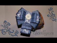 Как сделать красивый галстук из джинсовой ленты/DIY how to make a beautiful tie denim ribbons - YouTube