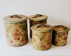 Vintage Set of Four Nested Tin Canisters - England
