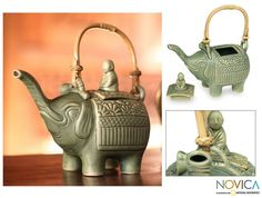 Ceramic Teapot, 'Buddha and the Jade Elephant' $38.99