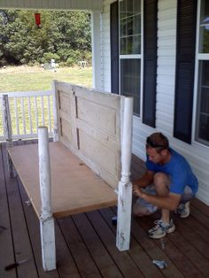 Things Made From Old Doors | ... Martha Stewart: Daybed for porch made out of old doors and porch post