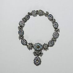 Opaline paste and silver necklace c1760. Victoria and Albert museum collection.