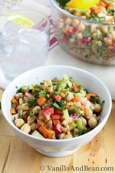 Garbanzo Summer Salad with Creamy Dill Dressing - Vanilla And Bean Veggie Recipes, Salad Recipes, Vegetarian Recipes, Dinner Recipes, Cooking Recipes, Healthy Recipes, Lunch Recipes, Creamy Dill Dressing Recipe, Salad Dressing Recipes
