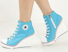 I found 'Super cute light blue white and red high heels converse sneakers style womens fashion' on Wish, check it out! SO CUTE! Converse High Heels, Converse Wedges, Shoes Heels Wedges, Sneaker Heels, Converse Sneakers, Cheap Converse, Blue Sneakers, Women's Shoes, Blue Wedge Heels