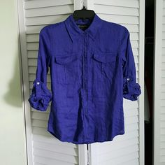 Purple Rain Linen top Button down, sleeves can be unbutton for full length sleeve. Exellent condition INC International Concepts Tops Button Down Shirts