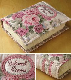 Book pillows - Patchwork Pottery - what a neat idea Sewing Hacks, Sewing Tutorials, Sewing Patterns, Book Pillow, Book Quilt, Quilting Projects, Sewing Projects, Fabric Crafts, Sewing Crafts