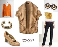 "January 3, 2012: Twiggy sweater, Gap orange longsleeve tee; Banana Republic trouser jeans, Aerosoles ""Role Boat"" pumps; thrift store copper cuff and leaf cuff; local boutique earrings, glasses"