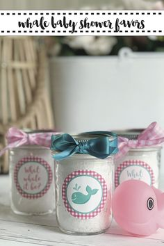 Make a perfectly preppy and adorable Whale Baby Shower party favor with the simple DIY from Everyday Party Magazine #Gingham #Preppy #Whale #BabyShower #PartyFavor