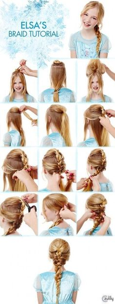 Elsa Braid Tutorial Disney Frozen Hair Tutorials Elsa and Anna Hacks. Step by Step Tutorials for Side Braids Coronation Buns and Royal Updos on Frugal Coupon Living. The post Frozen Hair Tutorials Elsa and Anna Hacks appeared first on Hair Styles. Girls School Hairstyles, Little Girl Hairstyles, Pretty Hairstyles, Braided Hairstyles, Hairstyles Haircuts, Hairstyles For Children, Hairdos, Short Haircuts, Frozen Hair Tutorial