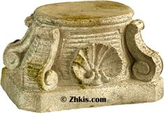 This rustic pedestal base has a slightly rectangular base to it. Shown here in fiber stone with a weathered look. The top of the base has a slight oval shaped to it as well. This piece also comes in a smooth fiberglass finish. This this riser base pedestal would be perfect for a plant stand. Very durable will hold 100 pound potted plant easily. Several finish options available on this pedestal.<