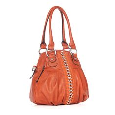 like the color orange,shape, and chain design in the middle cool bag