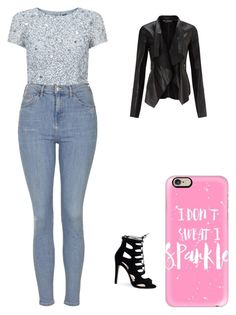 """""""Girls don't sweat, we sparkle"""" by cottoncandy03 on Polyvore featuring Adrianna Papell, Miss Selfridge, Topshop and Casetify"""