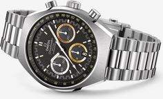 This special edition of the Speedmaster Mark II watch — released by Omega at this year's Baselworld watch fair and inspired by a vintage Omega Speedmaster model from High End Watches, Best Watches For Men, Luxury Watches For Men, Cool Watches, Rolex Watches, Patek Philippe, Breitling, Cartier, Watch Master