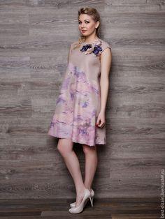 """Купить Валяное платье """"Парижанка"""" - кремовый, валяное платье, платье, платье валяное, платье офисное"""