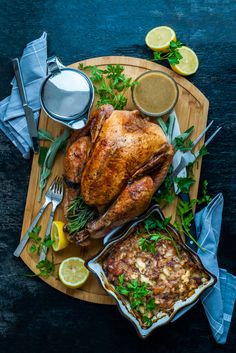 Herb & Lemon Roasted Turkey with Rich Gravy and Sage & Apricot Stuffing